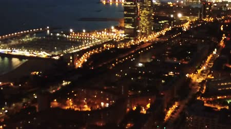 night scape : Aerial view of the Mediterranean coast in Barcelona Stock Footage