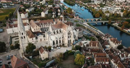 bell tower : Auxerre cityscape with Abbey of Saint-Germain, Burgundy, France