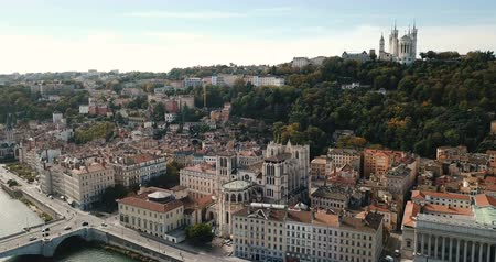 minor : Of Saint-Jean and Notre Dame Basilica on the River of Saone, Lyon, France Stock Footage