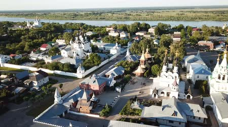 annunciation : Aerial view of russian landmark Trinity and Annunciation Monasteries in Murom Stock Footage