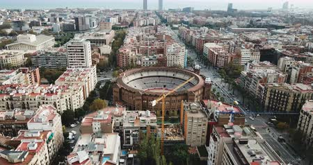 bullfight : Aerial view of Barcelona, Catalonia, Spain Stock Footage