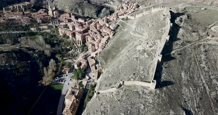 redoubt : Albarracin surrounded by stony hills, Aragon, Spain