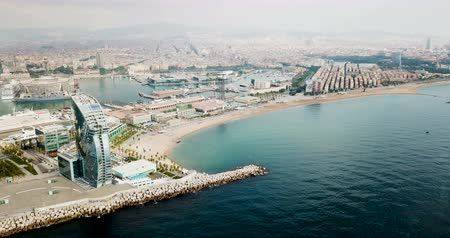 pokoj : Panoramic view from Barceloneta beach with hotel W Barcelona Wideo