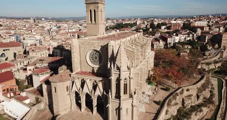 saint mary : Above view Collegiate Basilica of Santa Maria in Manresa, Spain Stock Footage