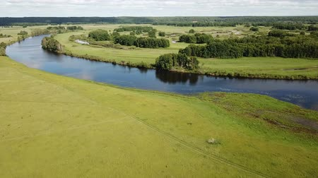 territorial : Picturesque landscape of central Russia with floodplain meadows along Oka River Stock Footage