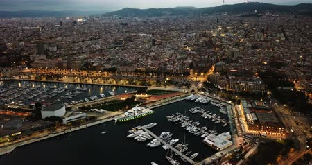 dron : Sailing of the city of Barcelona