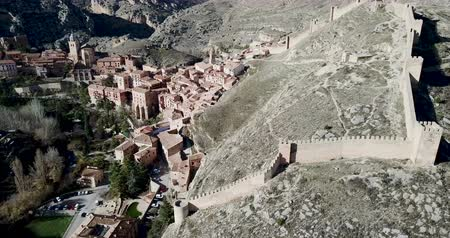 redoubt : Albarracin on the background of the city of Aragon, Spain