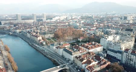 steeples : Panoramic aerial view of Grenoble city with bridge over Isere river, France