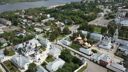 регионы : Panoramic aerial view of Trinity and Annunciation Monasteries in Murom Стоковые видеозаписи