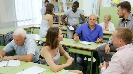 multinational : Group people in classroom Stock Footage