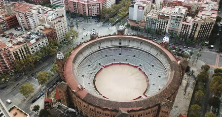 каталонский : Panoramic view of Barcelona drone of Barcelona and La Monumental district