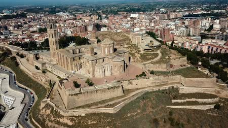 romanesk : Aerial view of the cityscape of Lleida and main historical sightseeing Old Gothic Cathedral, Catalonia, Spain