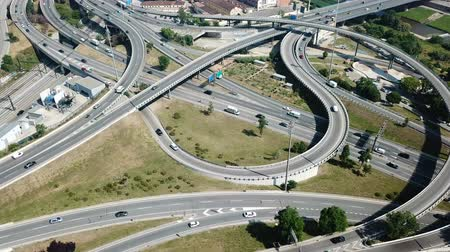 orbital : View on car interchange of Barcelona in the Spain. Stock Footage