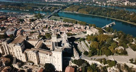 forestal : Aerial view of the river in sunny autumn day, France