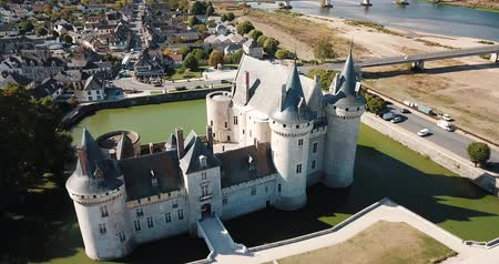ゴシック : SLLY-SUR-LOIRE, FRANCE - OCTOBER 11, 2018: View of Chateau de Sully-sur-Loire, France 動画素材