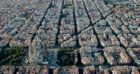 cloud scape : Panoramic view of Barcelona and the Sagrada Familia in Barcelona at sunny summer day
