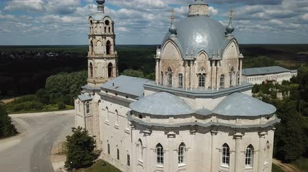 forestal : Peculiar architecture of Trinity Cathedral in Gus-Zhelezny, combining elements of baroque, classicism and pseudo-Gothic, Russia Stock Footage
