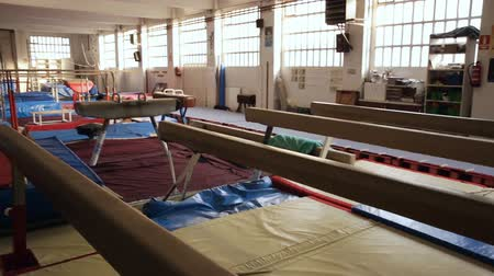 post room : Image of interior of sport center with gymnastic equipment Stock Footage
