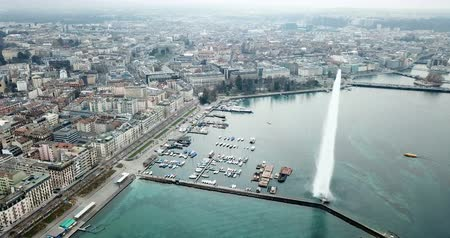 birdseye : Aerial view of the lake on the lake. Geneva. Switzerland Stock Footage