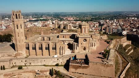 torony : Aerial view of the cityscape of Lleida and the main historical monument - Old Gothic Cathedral, Catalonia, Spain