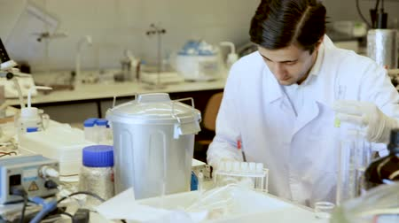 опытный : Young chemist working in laboratory, analyzing liquid samples in test flasks Стоковые видеозаписи