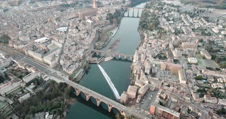 romanesk : View from Albi with Sainte-Cecile cathedral and Tarn river, France