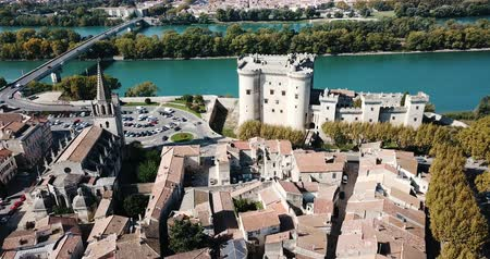 architectural heritage : View from the castle of Tarascon and river Rhone, France