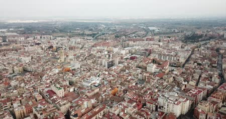 Барселона : Aerial view of the city of Reus. Tarragona province. Catalonia. Spain Стоковые видеозаписи