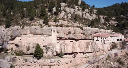 gruta : Impressive religious complex Sanctuary Mara de Balas built in rock, Sorita, Castellon, Spain Stock Footage