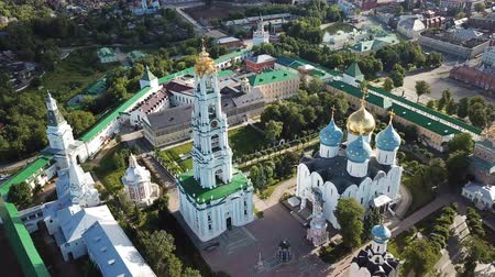 assumption : Panoramic view of the unique monastery complex of Trinity Lavra of St. Petersburg. Sergius in sunny day, Sergiev Posad, Moscow region, Russia