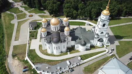 klyazma : Aerial view of Dormition Cathedral on sunny summer day, Russia