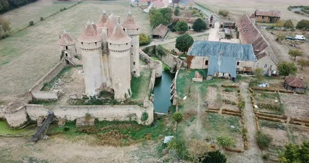 fortificado : Aerial view of Chateau Sarzay - medieval castle in France