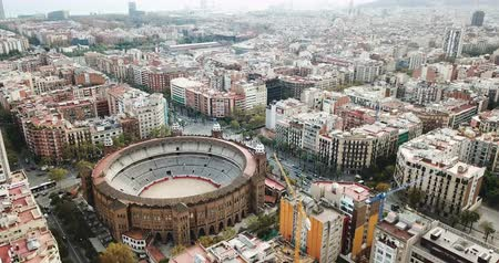 капитал : Panoramic view of Barcelona drone of Barcelona and La Monumental district