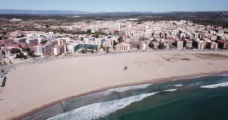 каталонский : View from drone of wonderful coast of Torredembarra city, Tarragona, Spain