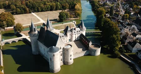 fortificado : Aerial view of castle Chateau de Sully-sur-Loire, France Stock Footage