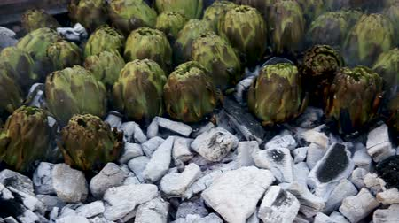 食用 : Closeup of artichokes being grilled on burning charcoal in brazier