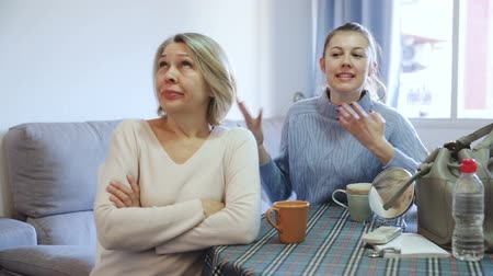 scold : Family quarrel of mother and adult daughter Stock Footage