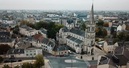 bell tower : LIMOGES, FRANCE - OCTOBER 07, 2018: Aerial view of the church of Our Lady, central France