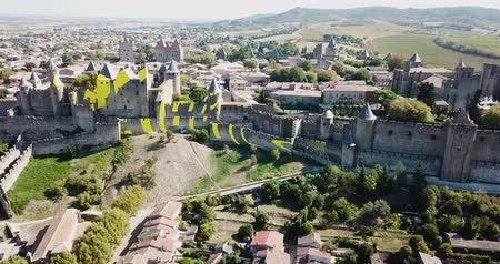romanico : CARCASSONE, FRANCE - October 06, 2018: City of Carcassonne with medieval citadel in sunny autumn day