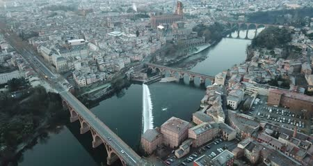 vöröses : View from Albi, Tarn river and Sainte-Cecile cathedral, France
