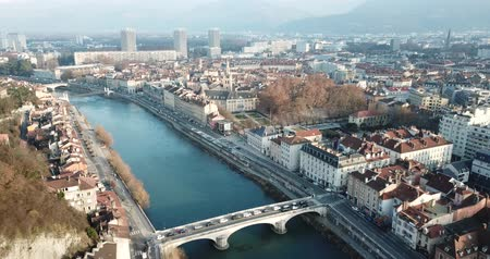 casa de campo : Panoramic aerial view of Grenoble city with bridge over Isere river, France