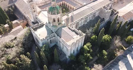 steeples : View from drone of Santa Maria de Santes Creus, Spain Stock Footage