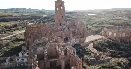 гражданский : Ruin of bombed ancient church in Belchite, Spain
