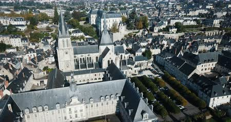 romanesk : View from the Drone of Medieval Eglise Saint-Nicolas, St. Nicolas church, built in the 12th century in Blois, France