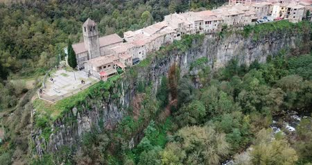 hegytömb : Castellfollit de la Roca located on the edge of the cliff, Catalonia, Spain