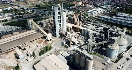 стабильность : Industrial background with large cement factory. Aerial view Стоковые видеозаписи