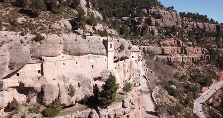 câmara : Impressive religious complex Sanctuary Mara de Balas built in rock, Sorita, Castellon, Spain Stock Footage
