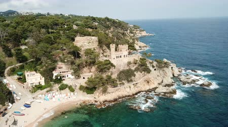 doména : View from the drone of the Castell den Playa in the Mediterranean coastal town of Lloret de Mar, Catalonia, Spain