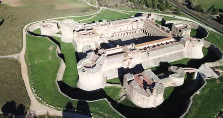 architectural protection : Beautiful panoramic view from drone of Forteresse de Salses, France Stock Footage