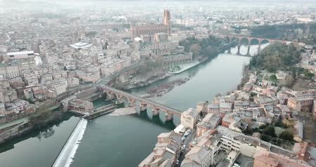 mediaeval : The ancient city of Albi at sunrise. View from above